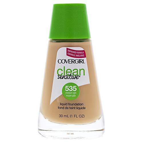 COVERGIRL Clean Sensitive Skin Liquid Foundation Medium Light, 1 oz (packaging may vary) (Best Light Foundation For Sensitive Skin)