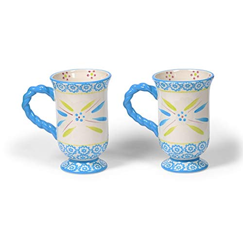 (Temp-tations Old World Oceanfetti Footed Pedestal Coffee Cafe Mugs Retired!)