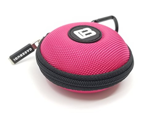 Nylon Ballistic Case Carry - CASEBUDi Round Earbud and Phone Charger Storage Case with Carabiner | Pink Ballistic Nylon
