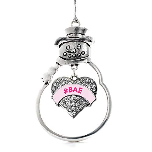 Inspired Silver - #BAE Pink Candy Charm Ornament - Silver Pave Heart Charm Snowman Ornament with Cubic Zirconia Jewelry