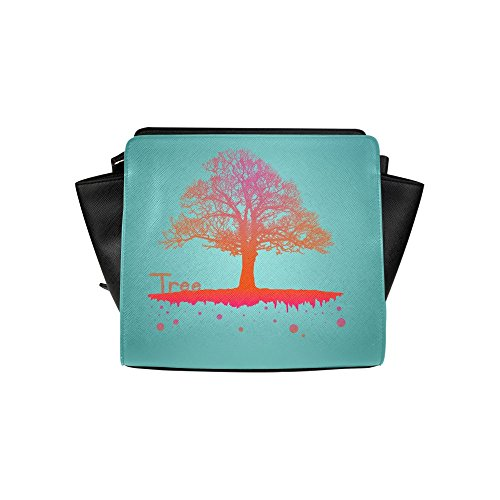 Meincare Women's Colorful Tree Pu Leather Satchel Bag
