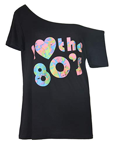 Smile fish Women's I Love The 80's Off The Shoulder Tops Disco 80s Costumes T Shirts (007black6, L]()
