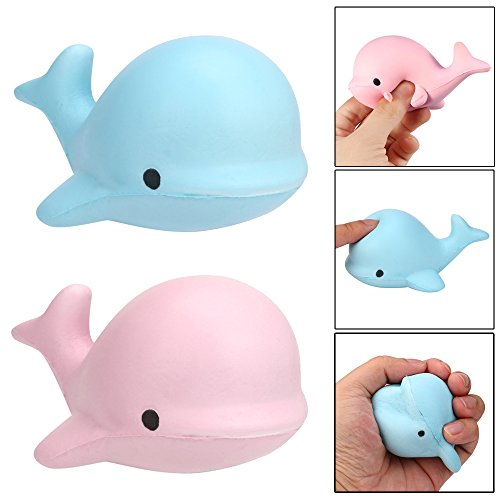 2018 Stress Toys Soft Whale Cartoon Squeeze and Slow Rising Cheap Fidget Toy by TOPUNDER (Blue)