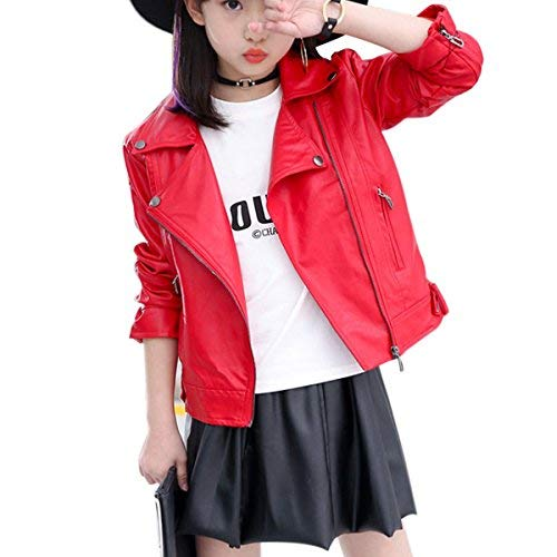Elife Girls Fashion PU Leather Motorcycle Jacket Children's Outerwear Slim Coatred red 5-6Y -