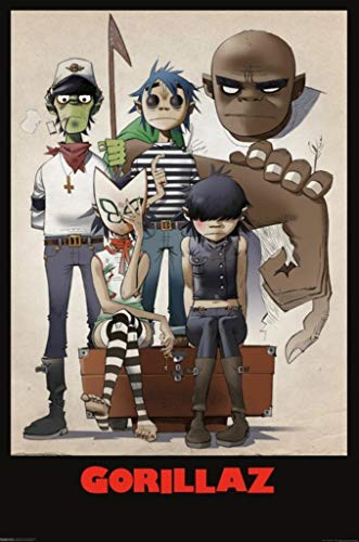 Pyramid America Gorillaz All Here Family Portrait Music Album Band Laminated Dry Erase Sign Poster 24x36