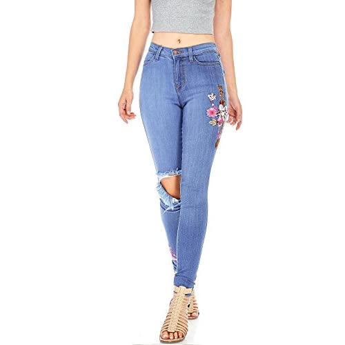 e88ac3513b86af Vibrant Women's Juniors High Waist Floral Emroidered Jeans chic ...