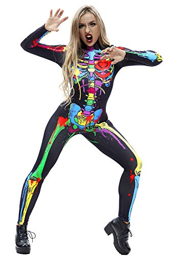 Men's Anatomy Halloween Costume (Honeystore Women's Skeleton Halloween Costume Catsuit Bodysuit Cosplay Jumpsuits BAX014)