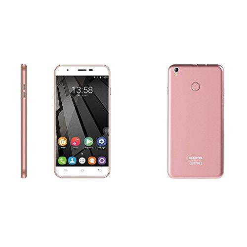 OUKITEL U7 Plus 5.5 Zoll 4G Smartphone Android 6.0 Dual SIM Quad Core LTPS HD Screen Handy ohne Vertrag 2G RAM 16G ROM 13MP+5MP Dual Kamera Fingerprint ID Smart Wake Air Gesture Rosa Gold