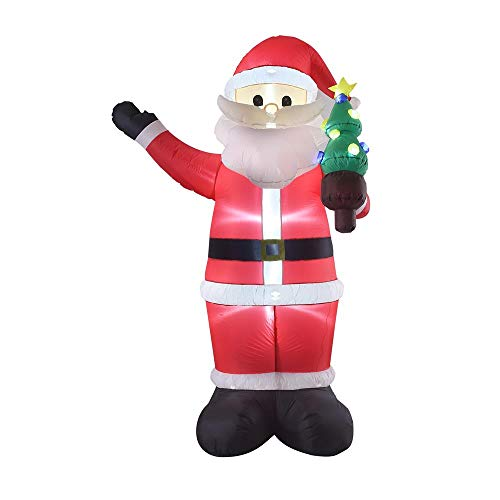 8FT Inflatable Self-Inflating Santa with Christmas Tree Indoor Outdoor Christmas -