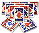 Bicycle Poker Standard Size Jumbo Face Index Playing Cards, Blue/Red, 12 Piece