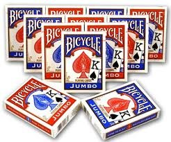 Bicycle Poker Standard Size Jumbo Face Index Playing Cards, Blue/Red, 12 Piece by Bicycle