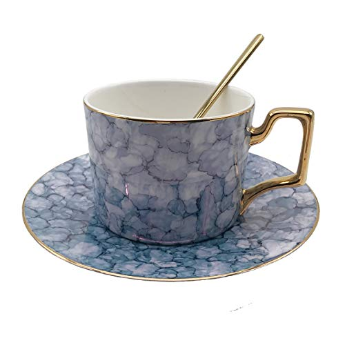 KEYIGOU Bone China Coffee Cup with Saucer and Spoon Sets Luxury Elegant Afternoon Teacup Gold-plated Marble 7.5-Oz Mug in Gift Box (Gold Plated Cup)