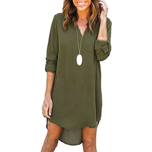 escote Army Solid en manga de de manga vestir gasa de con Camisa larga y Green en V larga Women 1nZwTY0nxq