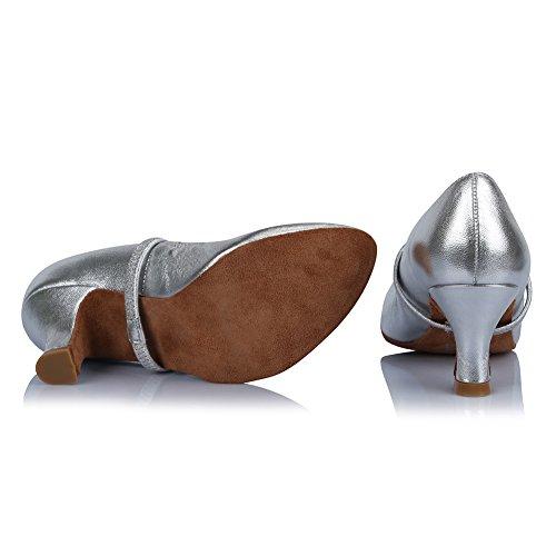 Zapatos de Cuero Modelo de Diamante salón de imitación la Mujeres ESAF305 Plateado de Baile Latinos Zapatos el de con de Baile HIPPOSEUS Danza Zapatos OHwpdxdq