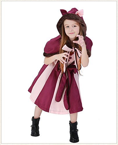 Xl Miss Alice Costumes (MV Girls Alice Wonderland Purple Cosplay Smile Cat Halloween Clothing)