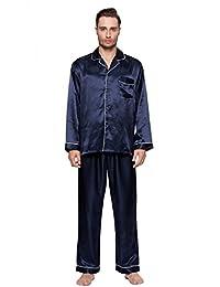 S-Fores Mens Classic Satin Pajamas, Long Button-Down PJ Set