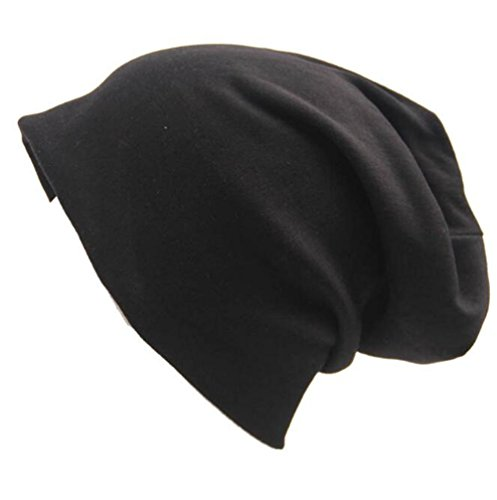 Knit Slouch Hat - Century Star Unisex Women Thin Solid Baggy Slouchy Lightweight Oversized Cotton Sleep Beanie Hat Skull Cap Black