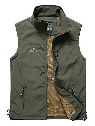 Heihuohua Men's Winter Outdoor Fleece Vest Outerwear Casual Travels Warm Sleeveless Jacket, LightGreen, X-Large ()