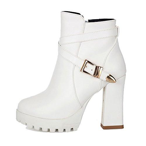 AgooLar Damen Hoher Absatz Rein Rund Zehe Reißverschluss Stiefel mit Schnalle Weiß