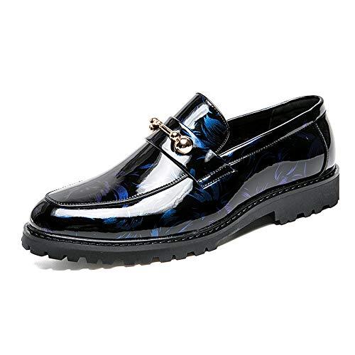 Xiaojuan-shoes, Business casual da uomo Oxford Trend Scarpe da cerimonia in pelle verniciata con bottoni in metallo antiruggine abbinati alla moda,Scarpe Uomo Pelle (Color : Nero, Dimensione : 42 EU) Blu