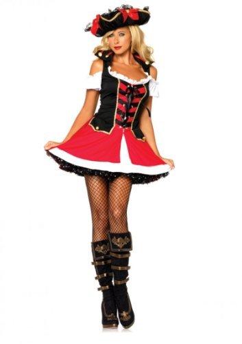 Leg Avenue Women's Aye Aye Admiral Costume, Black/Red, X-Small -