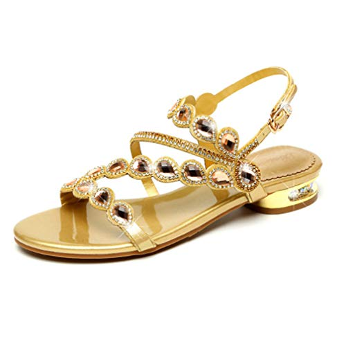 Donna Scarpe Sandali Ladies Bohemien Basso Alto purple Di Gold 35 Flat Flash Crystal Tacco Selling Diamanti In Estivi Fwffpq1