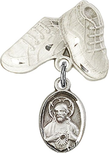 Sterling Silver Baby Badge Baby Boots Pin with Sacred Heart Scapular Charm, 3/4 Inch