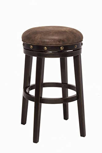 Hillsdale 5990-826 Benard Backless Swivel Counter Stool Height, Brown (Hillsdale Stool Bar Round)