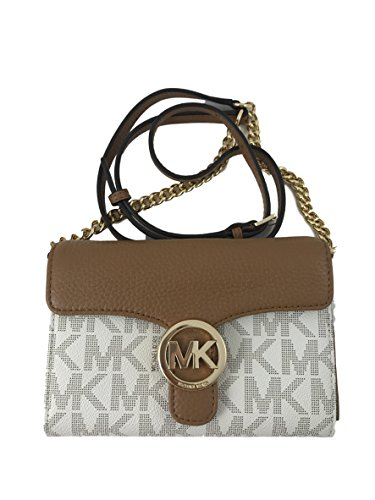 Michael Kors Vanna Large Phone Crossbody Wallet Vanilla & Acorn Signature by Michael Kors