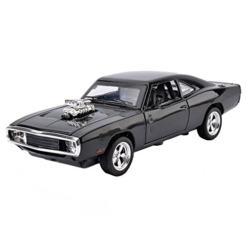 MyLifeUNIT 1:32 Dodge Charger 1970 Alloy Die-cast Car Model Collection light &Sound(Black) (Diecast Model Cars)