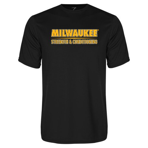 CollegeFanGear Wisconsin Milwaukee Performance Black Tee Strength and Conditioning