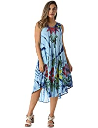 Tie Dye Summer Dress With Floral Hand Painted Design