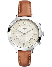 Q Women's Jacqueline Stainless Steel and Leather Hybrid Smartwatch, Color: Silver-Tone, Brown (Model: FTW5012)
