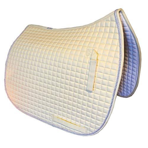 Dressage Saddle Pad | Box-Quilted Cotton/Foam | PRI Pacific Rim (Champagne Butter Cream w/#41 Light Silver Accent Rope/Cord)