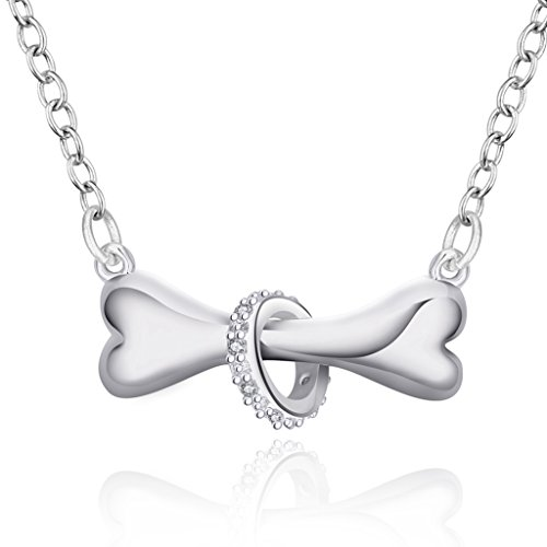 Sterling Silver Plated CZ Ring & Cute Bone Pendant Necklace Best Friendship Sister Chains Necklaces (Open Circle Toggle)