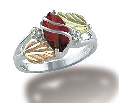 Ladies Black Hills Gold 10 X 5 MM Genuine Marquise Garnet Ring in Sterling Silver - Size 6