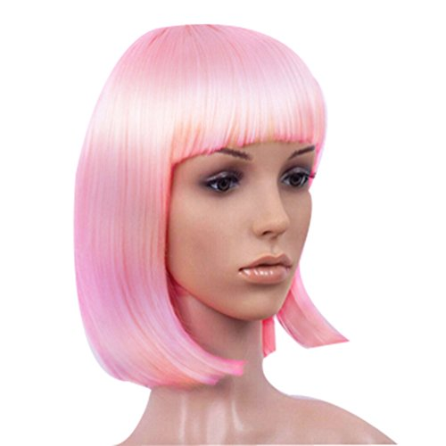 Fashion Cute COS Wigs for Children's Color Bobo Fluffy Short Straight Hair -Pink (M)