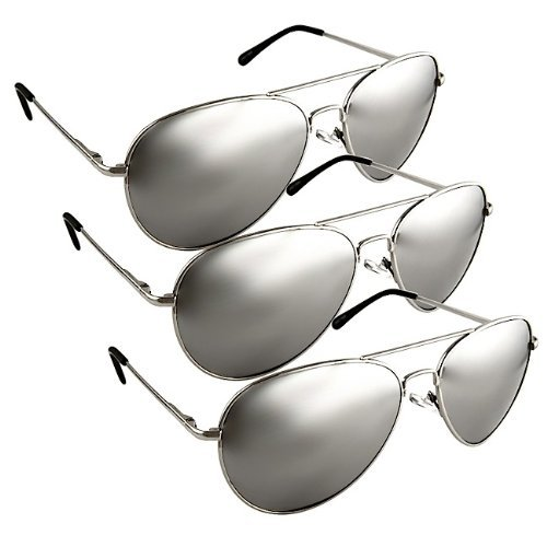 The Original Aviator - Full Mirror Lens(3 Piece Silver Set) Sunglasses 3 Piece Set