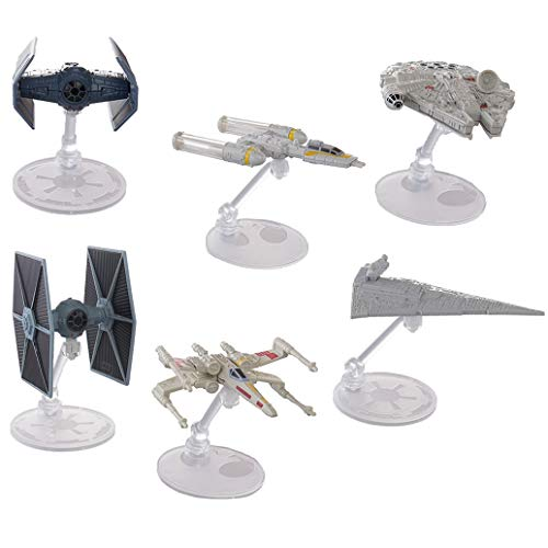 Hot Wheels Star Wars 6 Pack Starships for Star Wars Gifts: Star Wars Toys with Stands Include Millennium Falcon, X Wing, Y Wing, Tie Fighter, Darth Vader Tie Advanced, Star Destroyer]()