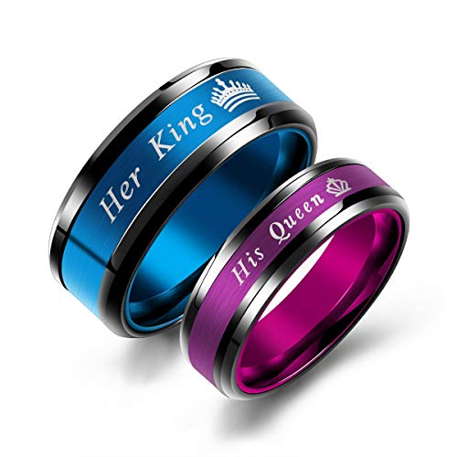 MONIYA Set of 2 Matching King and Queen Couple Rings Set Wedding Engagement Band Stainless Steel Promise Rings
