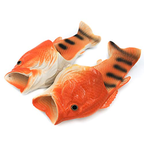 Coddies Fish Flip Flops | Unisex Slippers, Flip Flops, Slide Sandals, Pool & Beach Shoes | Men, Women & Kids (10/11 US Men (44/45 EU), Orange)