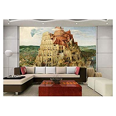 Large Wall Mural - The Tower of Babel by Pieter Bruegel The Elder | Self-Adhesive Vinyl Wallpaper/Removable Modern Decorating Wall Art - 66