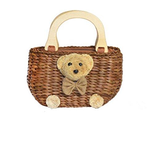 Ownstyle Handmade Cute Small Beach Tote Handbag Straw Woven Purse Cute Bear Straw Weaving Grass Handbag Wood Purse Handle Basket Making Supplies (brown) (Straw Basket Making)