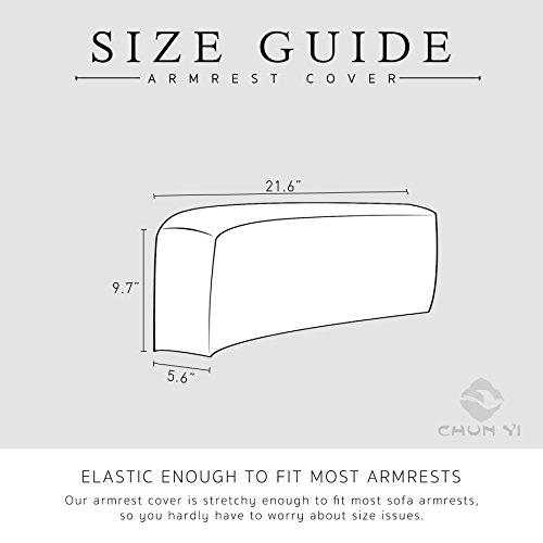 CHUN YI Set of 2 Stretch Polyester Spandex Fabric Jacquard Armrest Cover (Light Gray) by CHUN YI (Image #3)