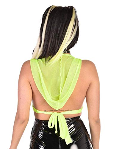 10034550478fa2 iHeartRaves Women s Sheer Mesh Crop Top Shirts for Festivals