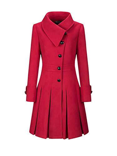 Honwenle Women Winter Fold Over Collar Single Breasted Plain Swing Woolen Long Coat (Fold Over Collar Coat)