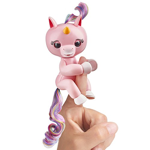 Fingerlings Baby Unicorn - Gemma (Pink with Rainbow Mane and Tail) - Interactive Baby Pet - by - Head Only Puppet