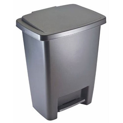 Rubbermaid Step-On Trash Can Wastebasket, Gray, 8.3 -gallon (FG284187CYLND)