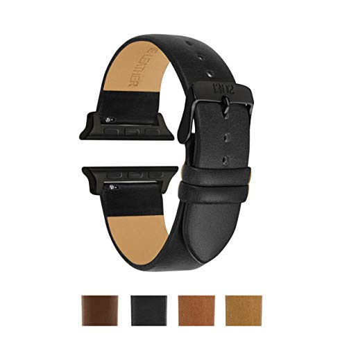 Compatible Apple Watch Band 38mm, 42mm, Italian Leather, Replacement for iWatch, Fits Apple Watch Series 4 Series 3 Series 2 Series 1 Sport, Space Grey, Black (42mm, Black)