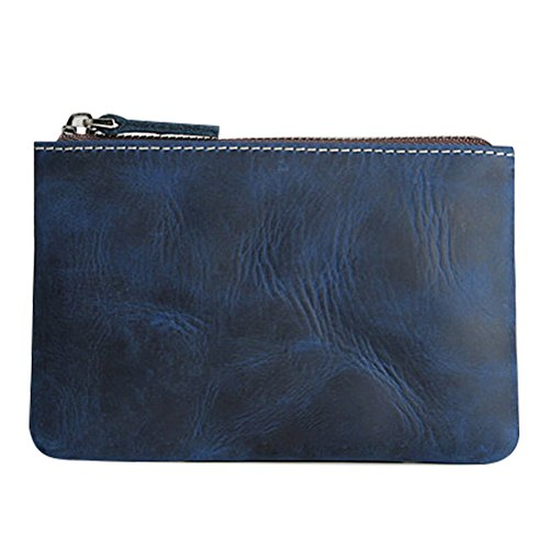 (Mens Coin Purse Fmeida Leather Slim Wallet Zipper Change Holder with 3 Card Slots)